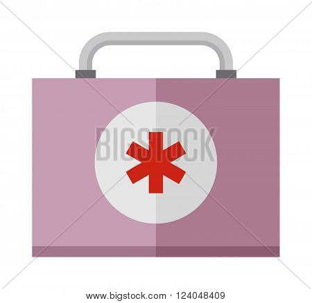 Car medical kit and emergency car kit ambulance health care symbol. Basic car emergency kit first help equipment cartoon flat vector illustration.