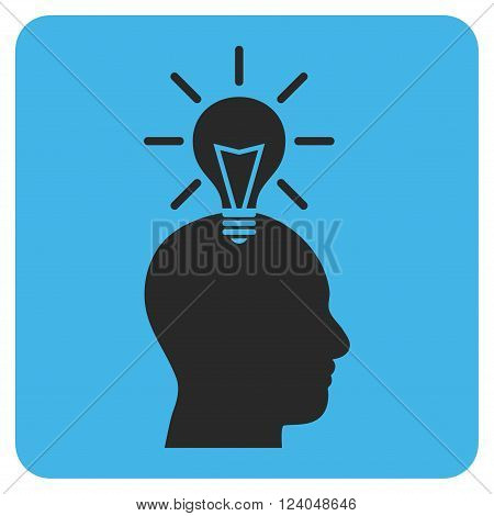Genius Bulb vector icon symbol. Image style is bicolor flat genius bulb pictogram symbol drawn on a rounded square with blue and gray colors.