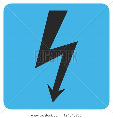High Voltage vector icon. Image style is bicolor flat high voltage icon symbol drawn on a rounded square with blue and gray colors.