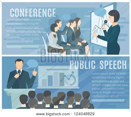 Public speech to live audience and successful conference presentations 2 flat banners composition poster abstract isolated illustration vector