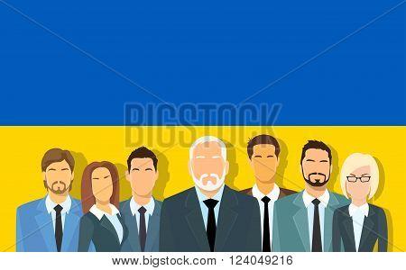 Senior Businessmen Group of Business People Team Over Ukrainian Flag Flat Vector Illustration