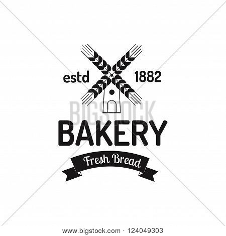 Bakery mill badge and bread mill logo badge icon modern flat style vector. Retro mill bakery label, logo and bakery bread badge icon. Vinatage mill badges design