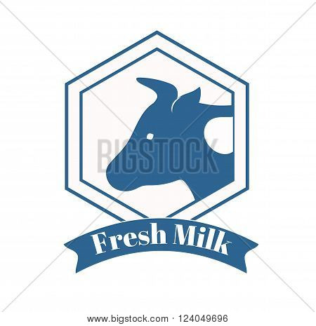 Milk cow logo badge template, some cow nature milk label with sample text. Milk logo badge icon for packaging and advertising. cow milk logotype design.