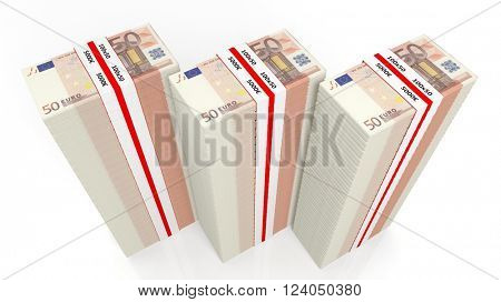 Euro banknotes of 50 in large stacks, isolated on white background, 3d rendering