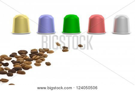 Colorful coffee capsules and coffee beans, isolated on white background. 3d rendering
