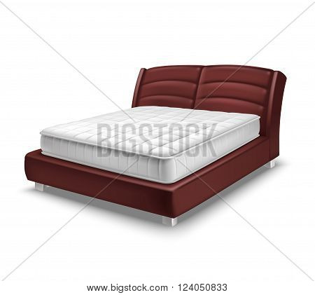 Double mattress bed on white background in realistic style isolated vector illustration