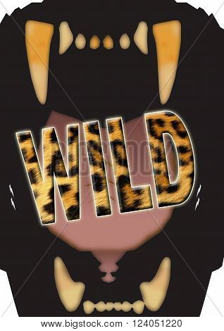 Illustration of a big cat's gaping mouth with the stylized word WILD