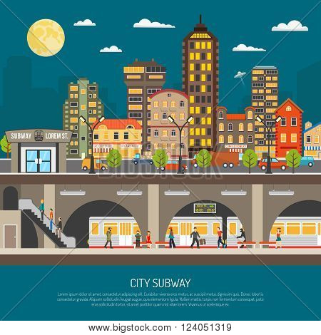 Underground poster of cityscape with subway station and platform train passengers under city street flat vector illustration