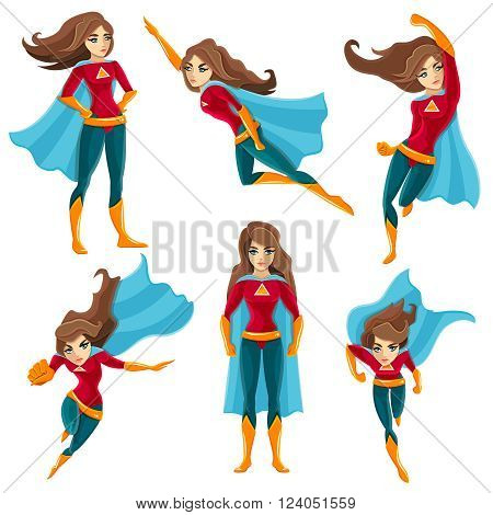Longhaired superwoman actions set in cartoon colored style with different poses vector illustration