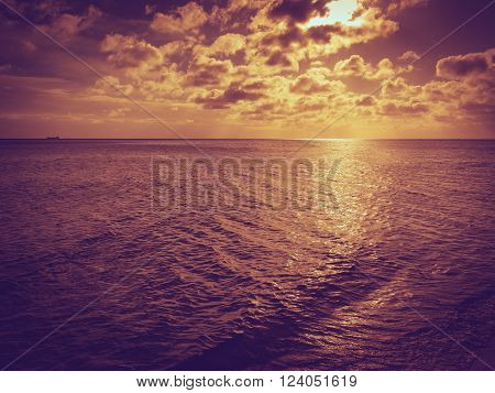 Beautiful seascape evening sea sunset or sunrise horizon and sky. Tranquil scene. Natural composition of nature. Landscape