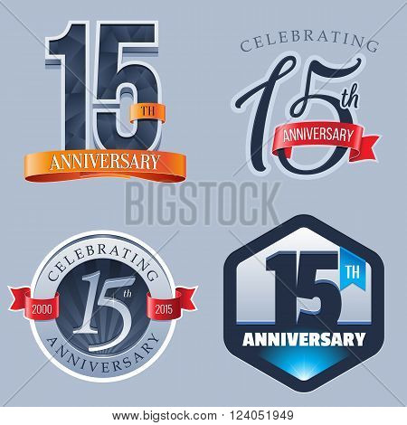 A Set of Symbols Representing a 15 Years Anniversary/Jubilee Celebration