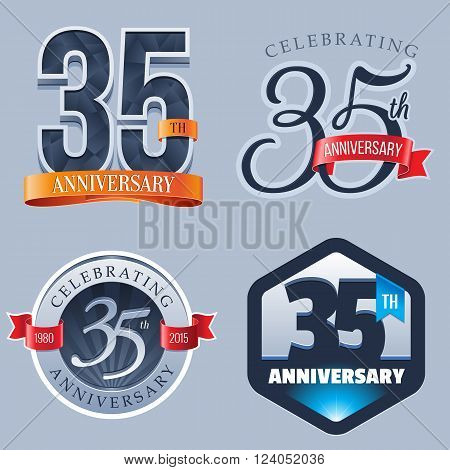 A Set of Symbols Representing a 35 Years Anniversary/Jubilee Celebration