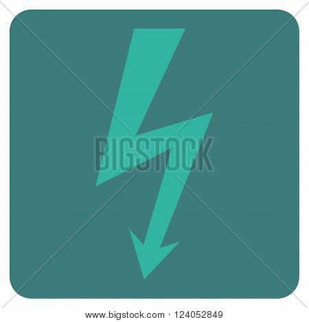 High Voltage vector icon. Image style is bicolor flat high voltage iconic symbol drawn on a rounded square with cobalt and cyan colors.