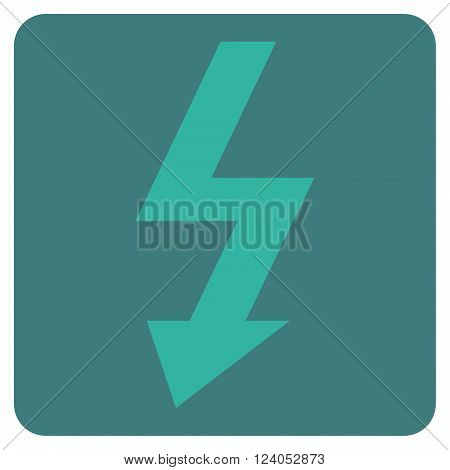 High Voltage vector symbol. Image style is bicolor flat high voltage iconic symbol drawn on a rounded square with cobalt and cyan colors.