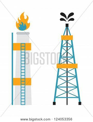 Gas rig station fuel industry and gas rig platform, oil recovery construction. Gas rig station and oil recovery platform flat icon vector illustration.