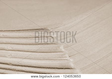 Closeup of pages in an old book (in sepia vintage style shallow DOF)