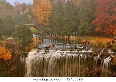 Waterfalls in the Country in Autumn