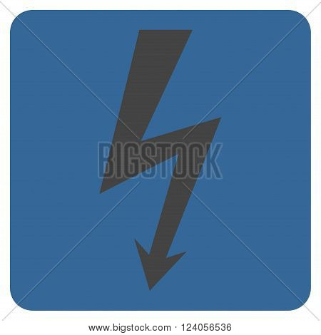 High Voltage vector symbol. Image style is bicolor flat high voltage icon symbol drawn on a rounded square with cobalt and gray colors.
