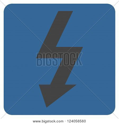 High Voltage vector icon. Image style is bicolor flat high voltage icon symbol drawn on a rounded square with cobalt and gray colors.