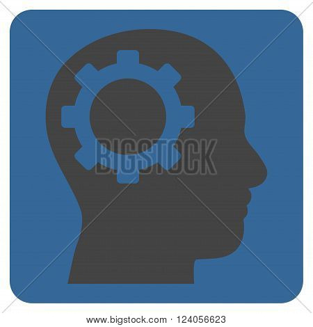 Intellect Gear vector icon symbol. Image style is bicolor flat intellect gear icon symbol drawn on a rounded square with cobalt and gray colors.