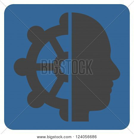 Intellect vector icon. Image style is bicolor flat intellect icon symbol drawn on a rounded square with cobalt and gray colors.