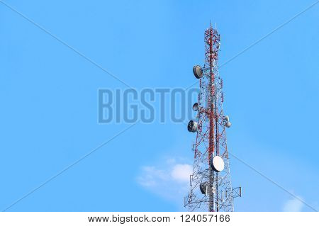 Cell Phone Antenna Tower in blue sky. Radio tower. Mobile phone Telecommunication Radio antenna Tower. Wireless communication. Transmission towers phone.