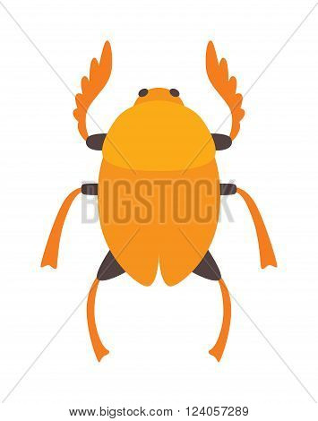 Egypt scarab beetle silhouette vector illustration or Egypt scarab beetle isolated on white background. Egypt scarab beetle vector icon illustration. Egypt scarab beetle isolated vector