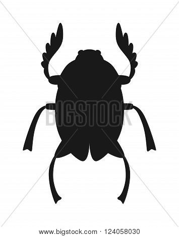 Egypt scarab beetle black silhouette vector illustration. Egypt scarab beetle isolated on white background. Egypt scarab beetle vector icon illustration. Egypt scarab beetle isolated vector