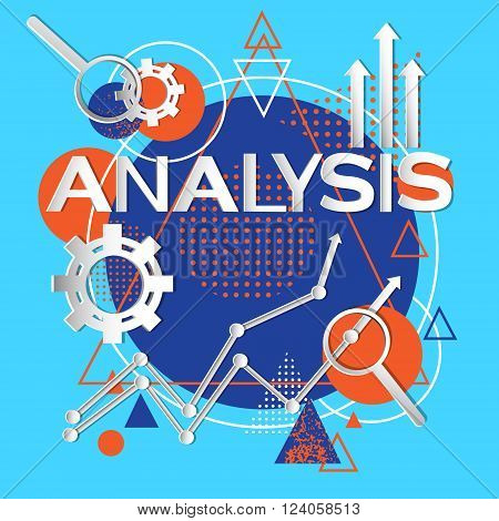 Analysis Concept Finance Infographic Magnifying Glass Abstract Background Vector Illustration