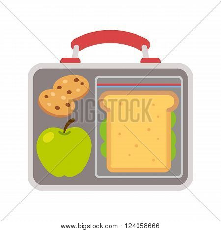 Lunchbox with school lunch: apple sandwich and cookies. Flat vector illustration.