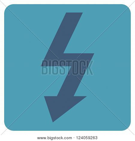 High Voltage vector symbol. Image style is bicolor flat high voltage pictogram symbol drawn on a rounded square with cyan and blue colors.