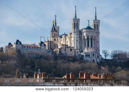 The Basilica of Notre Dame de Fourviere located on the Fourviere hill Lyon France.
