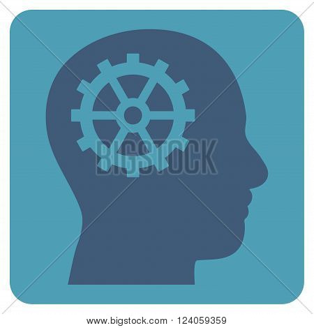 Intellect vector pictogram. Image style is bicolor flat intellect icon symbol drawn on a rounded square with cyan and blue colors.