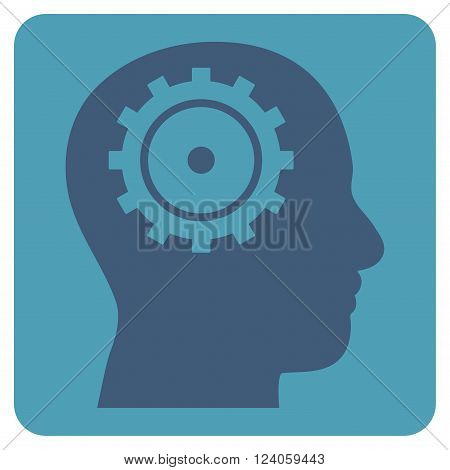 Intellect vector symbol. Image style is bicolor flat intellect iconic symbol drawn on a rounded square with cyan and blue colors.