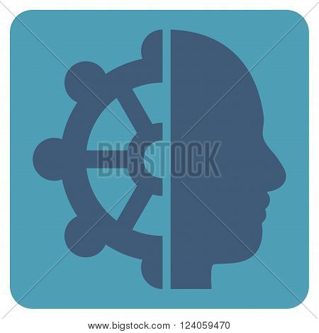 Intellect vector pictogram. Image style is bicolor flat intellect iconic symbol drawn on a rounded square with cyan and blue colors.