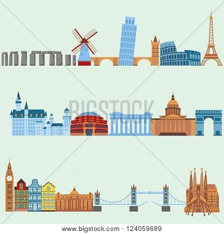 Euro trip tourism, travel design and euro trip adventure travel. International vacation tours advertisement. Travel outdoor Euro trip vacation travelling concept flat design vector illustration.