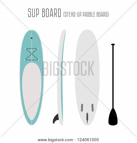Vector surf sup board with three sides. Blank template. Three projections