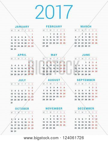 Calendar For 2017 Year On White Background. Week Starts Monday. Simple Vector Template. Stationery D