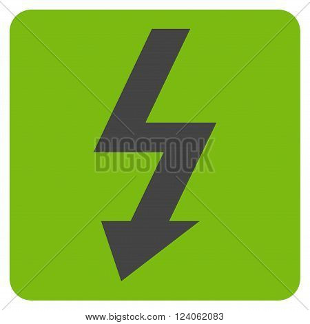 High Voltage vector pictogram. Image style is bicolor flat high voltage iconic symbol drawn on a rounded square with eco green and gray colors.