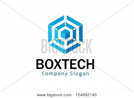 Box Technology Hexagon Creative And Symbolic Logo Design Illustration