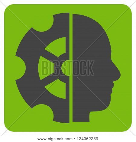 Intellect vector icon. Image style is bicolor flat intellect icon symbol drawn on a rounded square with eco green and gray colors.