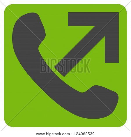 Outgoing Call vector symbol. Image style is bicolor flat outgoing call icon symbol drawn on a rounded square with eco green and gray colors.