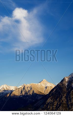 Mountains in Pyrenees, Huesca, Aragon, Spain.