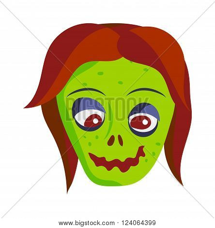 Zombie head cartoon monster character scary flat vector illustration. Zombie head character face and zombie head smile spooky man. Portraip of cartoon moster blue zombie vector. Halloween kids style image of zombie hand