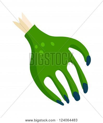 Zombie green monster hand icon and hand dead man zombie fantasy character vector. Zombie halloween cartoon death hand with blue claw vector illustration. Cartoon Halloween green zombie hand and bone