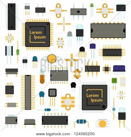Computer board chip engineering circuit icons and microchip circuit electrical science concept network icons vector. Circuit computer chips icons technology vector illustration set. Computer chip background