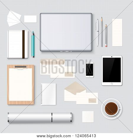 Mockup branding identity design and mockup corporate company desk design graphic clean style. Letterhead, logo and web design mockup template background vector illustration. Realistic Mockup
