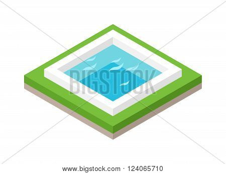 Isometric pool with blue water and isometric pool with green grass. Isometric pool modern outdoor building concept swimming landscape vector. Water pool summer isometric fun concept 3d flat vector.