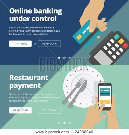 Online & mobile payment website banners and illustrations. One page web design heroimage collection 4.