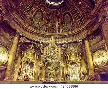 Zaragoza, Spain - March 24, 2016: Interior Of The Basilica Of The Virgen Del Pilar, Zaragoza, Aragon